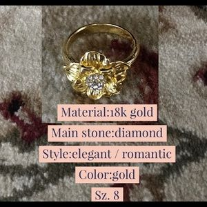 NWT 18K Gold Diamond Floral Ring